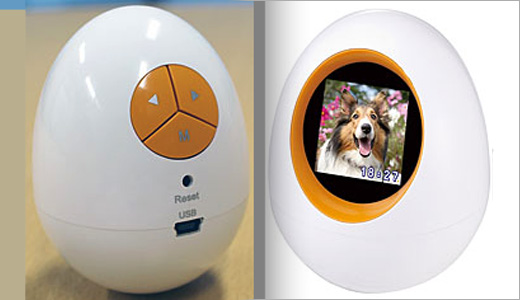 Princeton, a Japanese online store, selling egg-shaped digital photo frame in various colors. This frame sports 1.5-inch screen, USB port, and compatible with Windows Vista/XP. Last but not lease, this product bundled with a stainless steel tin. Read