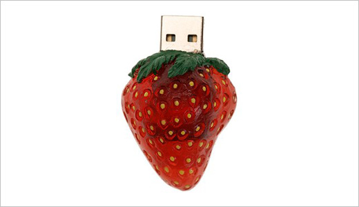 Compatible with both Mac and PC, this Straberry USB Flash drive has 1 GB capacity. It's made of plastic and available from UrbanOutfitters with $50 of price-tag. I didn't get the writing speed in number, but it's mentioned to be fast.