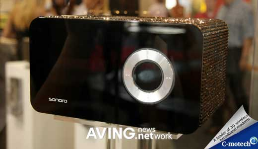 """Displayed during IFA 2008, the Sonoro """"Element Stardust"""" is a luxury media player with standard features. Beside its 3,900 swarovsky crystal, this player comes with top-quality AM/FM tuner, 10 preset station, AUX-IN jack to connect to iPod, MP3 player, laptop, etc. It also features clock & alarm function, snooze, sleep […]"""