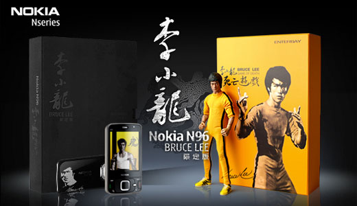The Kungfu legend Bruce Lee is taken by Nokia China to make special edition of N96. Priced at $1,286, this N96 Bruce Lee pack comes with the image and signature of Bruce Lee on the back cover, a bluetooth headset and a special wrist strap and pint-sized nunchaku.