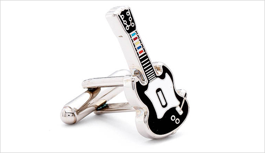Cufflinks offers new collection for Hero's enthusiast. Inspired by the best selling guitar video game, the replica strat cufflinks are detailed down to the colored buttons. Measuring 3/4″H x 1/2″W, this one is perfect companion for the weekend axe slinger. Priced at $50, you can buy this directly from cufflinks.com.