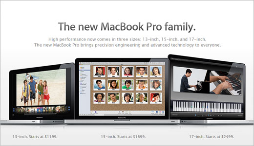 Now MacBook Pro family consists of 13-inch, 15-inch, and 17-inch models which all of them equipped with a lithium-polymer battery. This type of battery can last up to 7 hours and can be charged up to 1,000 times. All models support up to 8GB of RAM, 500GB hdd or a […]