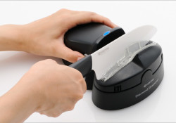 Designed for home use, the Kyocera electric ceramic knife sharpener (Model # DS-50) available in the US market for $79.95. Highlights: Battery powered and can sharpen chips up to 0.5mm deep; A convenient knife guide slot and assist roller allow for user-friendly and controlled sharpening of the ceramic knife blade; […]