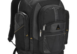 "Designed to fit laptop screens up to 16"", the Targus Conquer 16″ Backpack features two sections including a deluxe padded laptop compartment with a dedicated, protective Tablet/eReader compartment. Constructed of durable polyester material, the backpack also features Cell Phone Pouch, Business Workspace, and Moderate Storage."